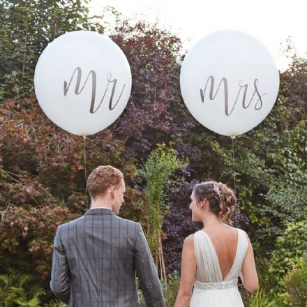 Giant Mr and Mrs White Wedding Balloons
